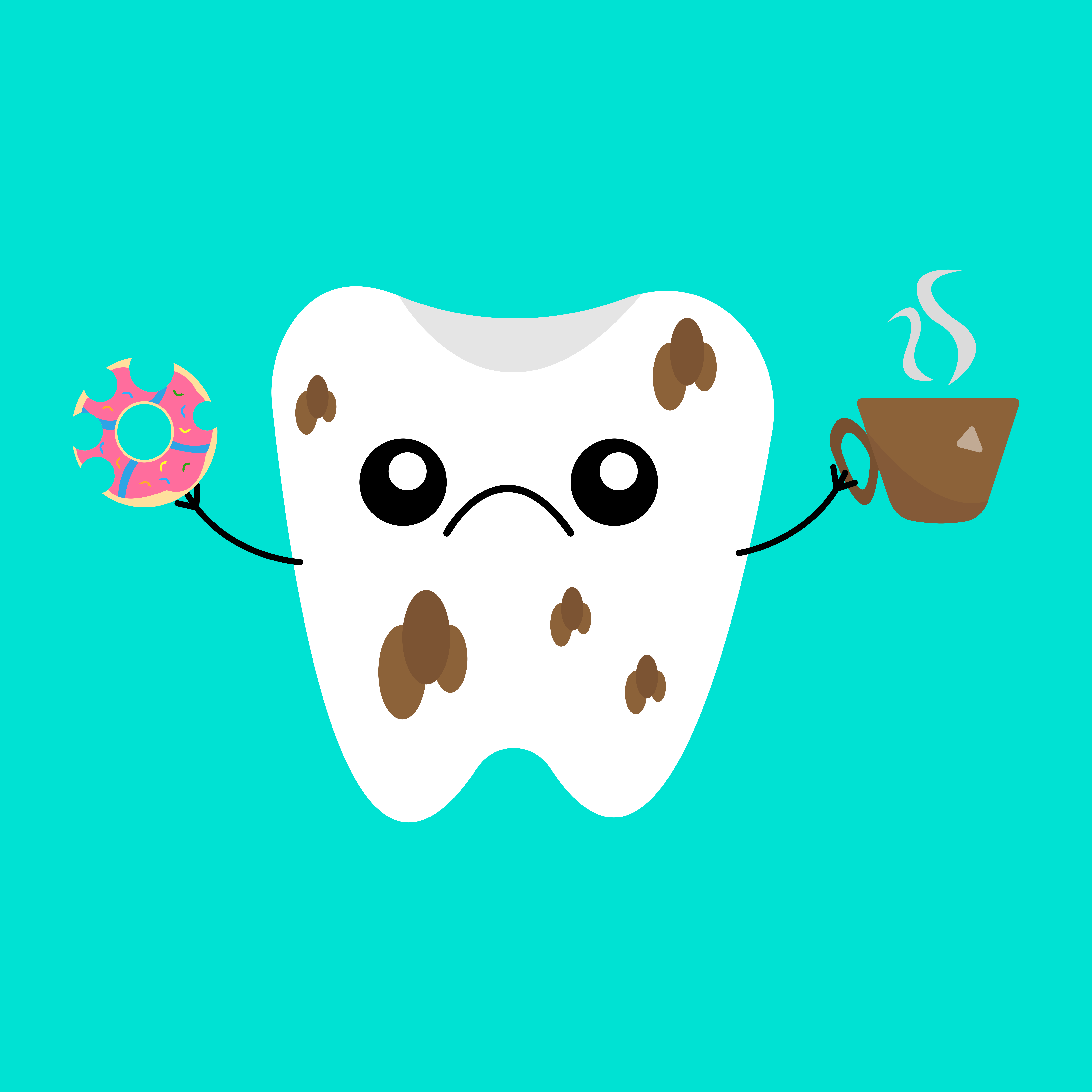 graphic illustration of frowning tooth with brown spots holding cup of coffee and donut